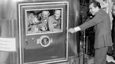 President Richard Nixon greeted astronauts Neil Armstrong, Michael Collins and Edwin ''Buzz'' Aldrin.