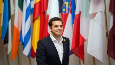 Alexis Tsipras, Greece's prime minister, leaves at the end of an emergency meeting of European leaders in Brussels.