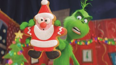 The Grinch (Benedict Cumberbatch) warns his dog Max and reindeer Fred about the seductive power of the Santa cookie as he trains them to help him steal Christmas.
