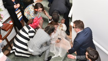 Gina Rinehart took a spill down a flight of stairs in the Emirates marquee.
