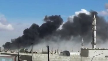 Smoke rises in the Homs province in western Syria after Russian military jets carry out air strikes.