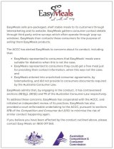 The corrective notice on the EasyMeals website must remain visible for 60 days.