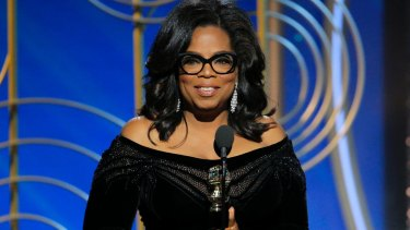 Oprah Winfrey accepting the Cecil B. DeMille Award at the 75th Annual Golden Globe Awards on Sunday.