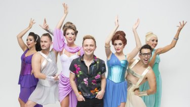Director Nathan Wright with the Muses of <i>Xanadu</i>.