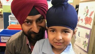 Sagardeep Singh Arora with his son Sidhak.