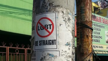 An anti-LGBT pamphlet posted on a street in West Java.