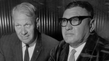 Mining the past: Michael Wright's father, Peter (left), with his business partner Lang Hancock in the 1960s.