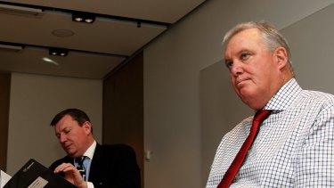 David Pitchford, former chief executive of UrbanGrowth NSW, with chairman John Brogden.