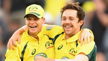 Little to smile about: Australian skipper Steve Smith and debutant Travis Head celebrate another wicket on the way to a 3-0 clean sweep against the Kiwis – a series that failed to attract large TV or live audiences.