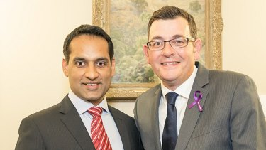 Jasvinder Sidhu with Premier Daniel Andrews.