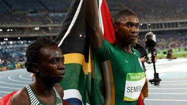 Silver medalist Francine Niyonsaba (left) of Burundi, and gold medalist Caster Semenya of South Africa.