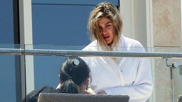 Mary Mehajer in Salim's bathrobe.