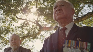 Vietnam veteran Bob Blair (right) and Tony Barry, play ex soldiers in the clip for Busby Marou's Paint This Land which will be played at the G during the Anzac Day match