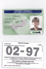 A counterfeit driving licence obtained from an overseas web site.