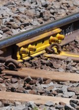 A close-up of damaged rail line.
