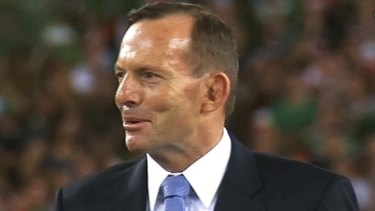 """""""Footy fans shouldn't be subjected to a politicised grand final"""": Tony Abbott, pictured at the 2014 NRL grand final."""
