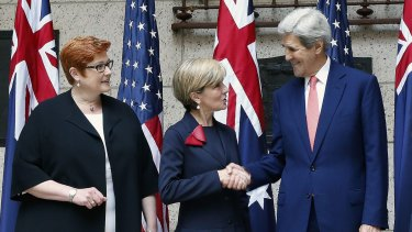 Defence Minister Maurice Payne, Foreign Affairs Minister Julie Bishop and US Secretary John Kerry at a press conference at the US-Australia defence talks.