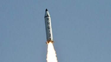 The Pukguksong-2 missile lifts off as it is test-launched at an undisclosed location in North Korea on May 22.