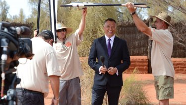 Grant at Uluru hosting the first broadcast of the National Indigenous Television channel in late 2012.