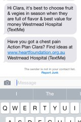 Text messages from The George Institute for Global Health's TEXT ME heart attack trial.