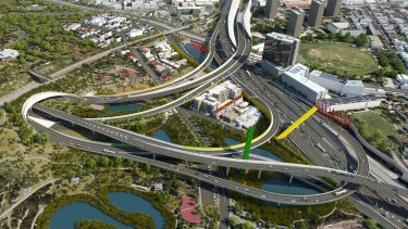 An artist's impression of part of the East West link.