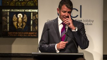 """Premier Mike Baird gets emotional during a speech at a pre-election """"Make it Count"""" event at the Village Church in Annandale."""