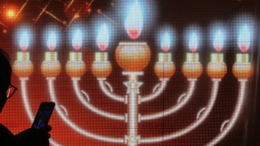 A Menorah during the Jewish festival of Hannukah.