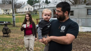 Matthew Heimbach, who runs the Traditionalist Worker Party, with his family at home in Paoli, Indiana.