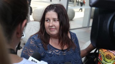 Leonie Duroux, sister-in-law of one of the victims, speaks outside the Supreme Court in Sydney on Wednesday.