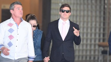 Zane Alchin (right) leaves court on Friday.