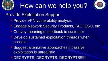 Another slide shows the spy agency's excitement when being able to decrypt.