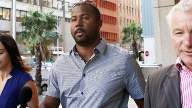 West Indies' Cricket player Dwayne Smith arrives at the NSW Supreme Court.