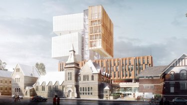 Artist impressions for a new 14-storey high school in Surry Hills.