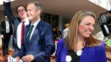 ALP candidate for Burt, Matt Keogh, Opposition Leader Bill Shorten and Senate candidate Louise Pratt.