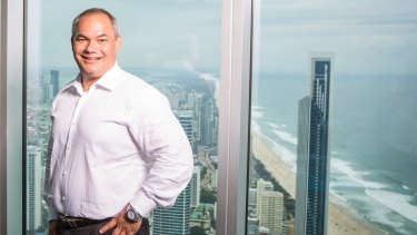 Gold Coast  mayor Tom Tate on the observation deck of Q1.