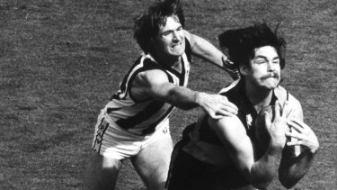 FILE PIC  6-10-1980.   Picture shows Richmond player David Cloke taking a mark during the 1980 grand final against Collingwood.