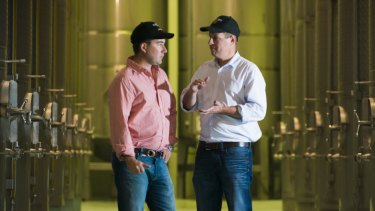 Boundary Bend co-founders Paul Riordan (left) and Rob McGavin, at one of the Victorian storage facilities for Cobram Estate extra virgin olive oil.