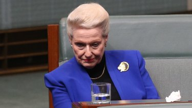 Bronwyn Bishop, 73, has posted out a glossy pamphlet to the 96 preselectors who will decide her fate.
