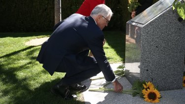 Prime Minister Malcolm Turnbull at an MH17 memorial in the gardens of Parliament House in Canberra. There will now also be a memorial in Amsterdam, where the ill-fated airliner took off.