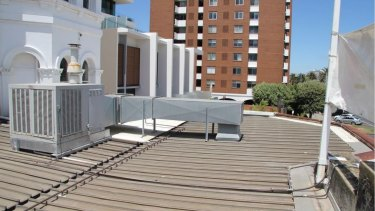 The existing metal clad roof proposed to be removed from the first floor terrace at The Esplanade Hotel.
