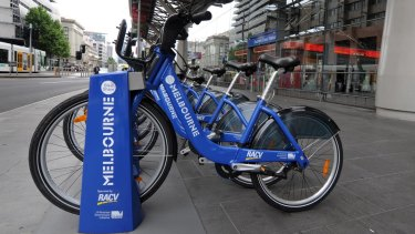 Melbourne Bike Share bikes lined up outside Southern Cross station in 2010.