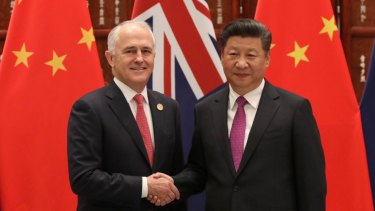 Chinese president Xi Jiping welcomes Australian Prime Minister Malcolm Turnbull at the West Lake State Guesthouse in Hangzhou, China.