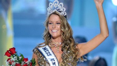Jennifer Hawkins after being crowned Miss Universe