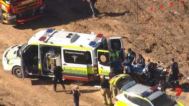 The unconscious man was treated for serious head injuries, with paramedics suspecting he suffered a fractured skull.