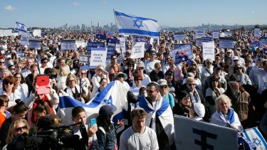 Pro-Israeli activists gather in Sydney recently.