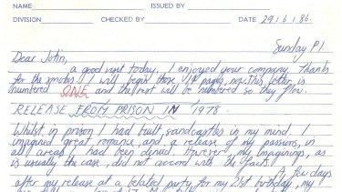 A letter from serial killer Paul Steven Haigh.
