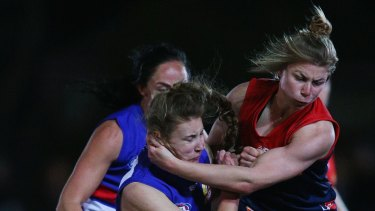 In action: Tiarna Ernst ruptured a kidney playing for Melbourne in an exhibition match