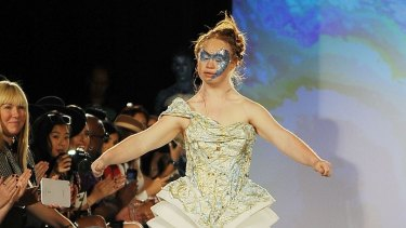 Madeline Stuart walks the runway at an earlier New York Fashion Week show.