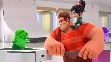 EBay Elayne, voiced by Rebecca Wisocky, Ralph, voiced by John C. Reilly and Vanellope von Schweetz, voiced by Sarah Silverman in <i>Ralph Breaks the Internet</I>.