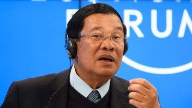 Cambodian Prime Minister Hun Sen speaks at the World Economic Forum in Davos in January.